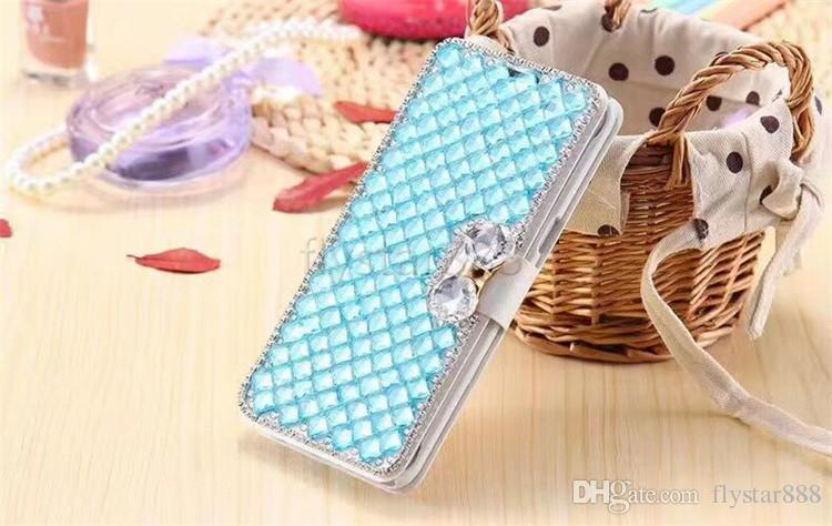 럭셔리 블라인드 라인 석 다이아몬드 PU 지갑 플립 가죽 커버 케이스 삼성 S9 Plus S7 가장자리 아이폰 X 8 plus 6 6s Plus 5s se