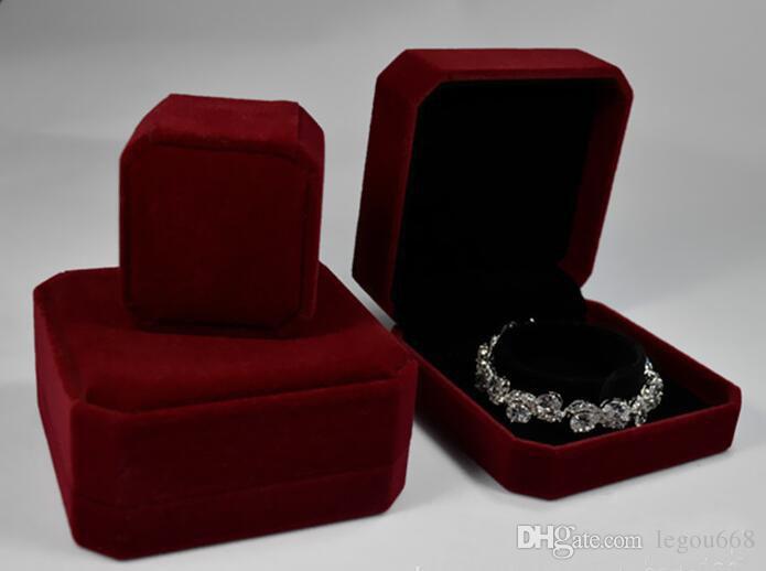 Velvet Armband Box Schmuck-Anzeigen-Speicher-Fall für Hochzeit Armband Valentinstag Geschenk Organizer GA45