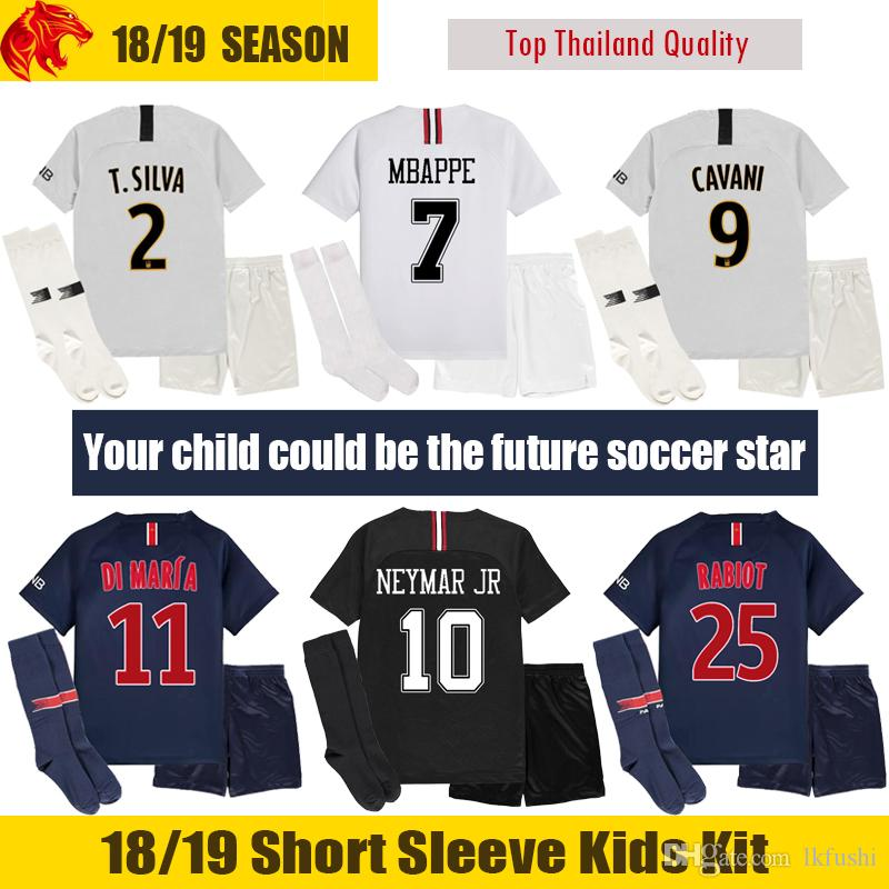 18 19 MBAPPE Kids Soccer Jerseys 2018 2019 VERRATTI CAVANI Kids Kit DI  MARIA Children Football Uniform Boys Soccer Set UK 2019 From Lkfushi 90dd0608a