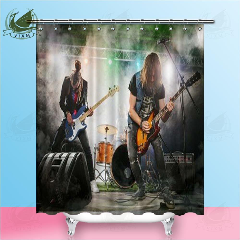 Vixm Guitar Band On Stage Bass And Drum Shower Curtains Polyester Fabric For Home Decor Orange Celebrity Curtain Singer