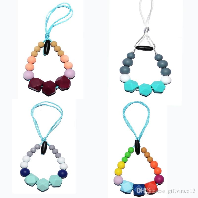 Silicone Teething Necklace Safe for Baby Chew Geo Hexagon Beads Pendant Necklace BPA Free Food Silicone Nuby Teething Necklace Sensory Chew