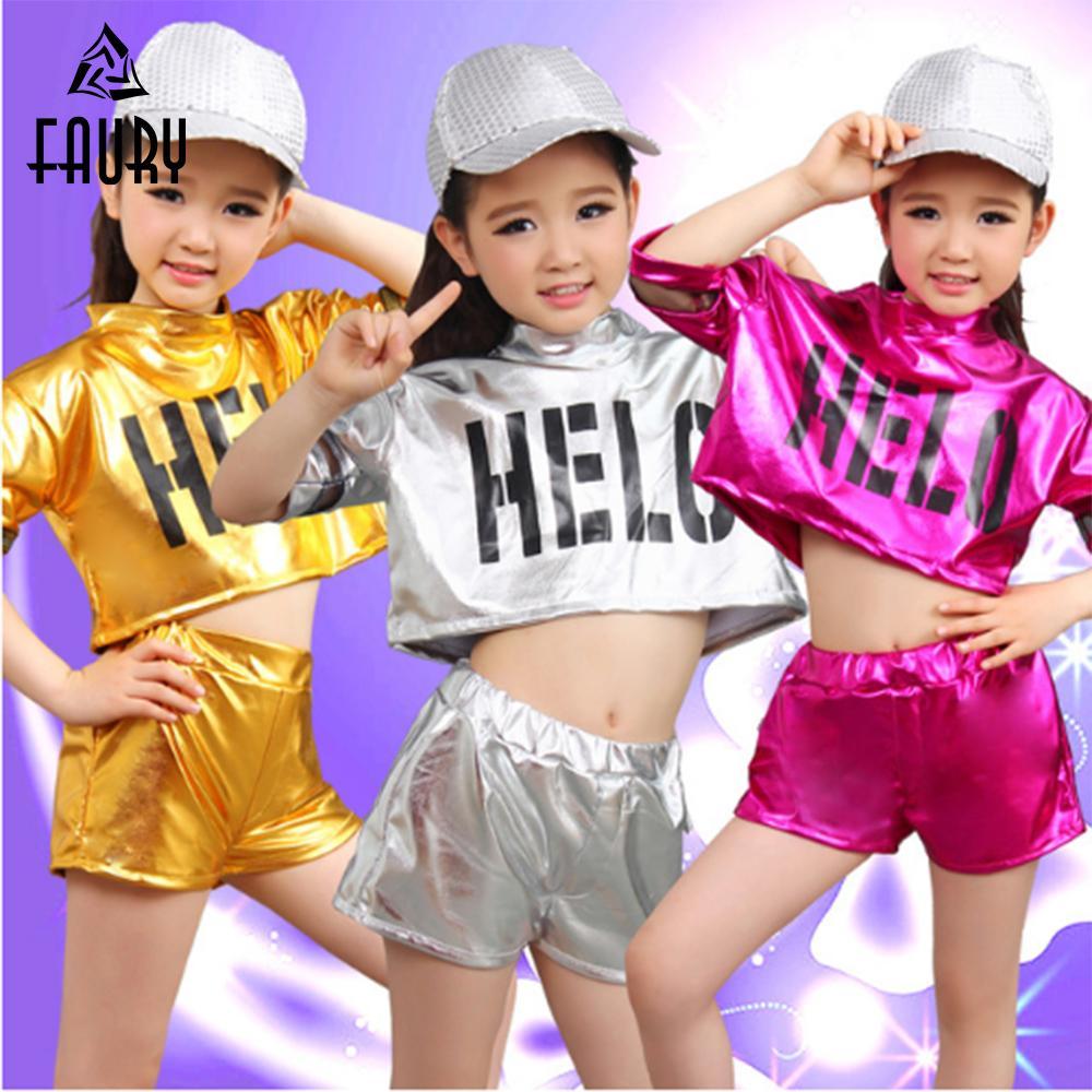 ece931cf9 Compre Chica Trajes De Baile De Jazz Niños Niñas Hip Hop Baile Niños  Disfraz De Jazz Para Camisa De Niña Pantalones Trajes De Rendimiento A   39.47 Del ...
