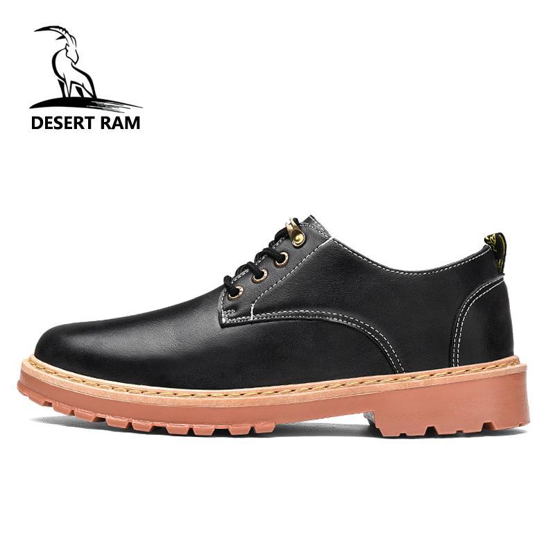 227398bc736 Compre DESERT RAM Marca Botas Para Hombre Dr Martins Alta Calidad Casual  Botas De Cuero Negro Zapatos Para Hombre Moda Zapato De Seguridad Laboral A  Prueba ...