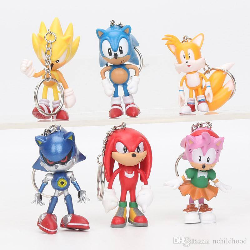 Anime Cartoon Sonic The Hedgehog Figure Action sonic Characters keychain pendant Doll Toys Chiristmas gift