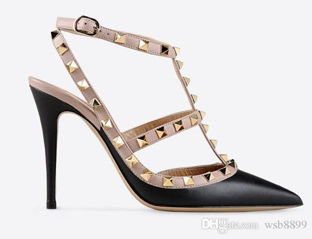 de025502782 Designer Pointed Toe 2-Strap Studs high heels Patent Leather rivets Sandals  Women Studded Strappy Dress Shoes valentine high heel Shoes