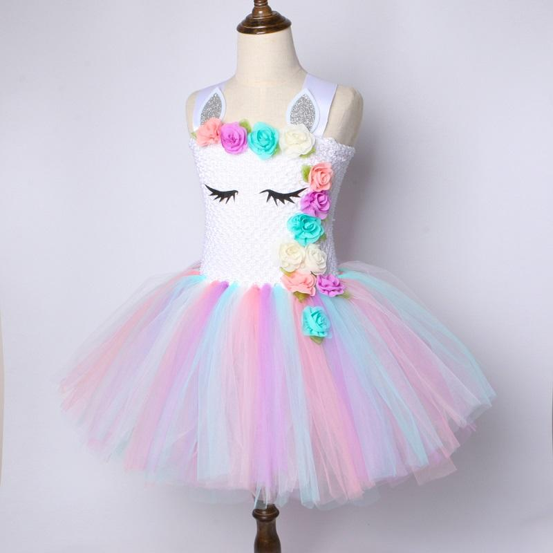 8c7df0e72b34b Flower Girls Unicorn Tutu Dress Pastel Rainbow Princess Girls Birthday  Party Dress Children Kids Halloween Unicorn Costume 1-14Y