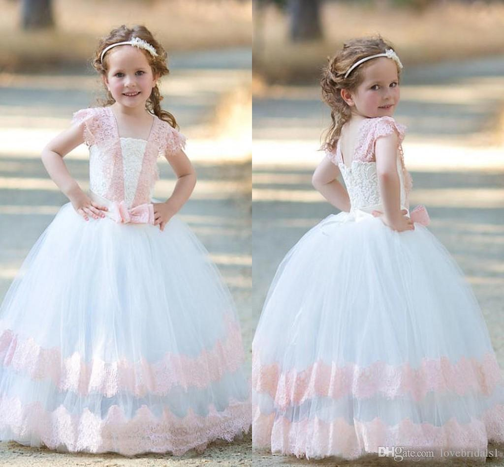 c83a295f899 Sweety A Line Flower Girls Dresses With Pink Lace Applique White Tulle Skirt  Floor Length Children Birthday Party Gowns First Communion Dre Flower Girl  ...