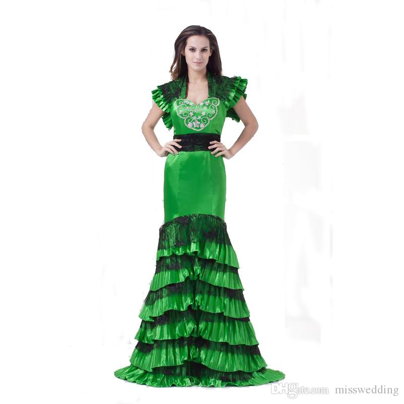 903812111a7 2018 New Style Green Satin Ladies Prom Dress Free Jacket Mermaid ...
