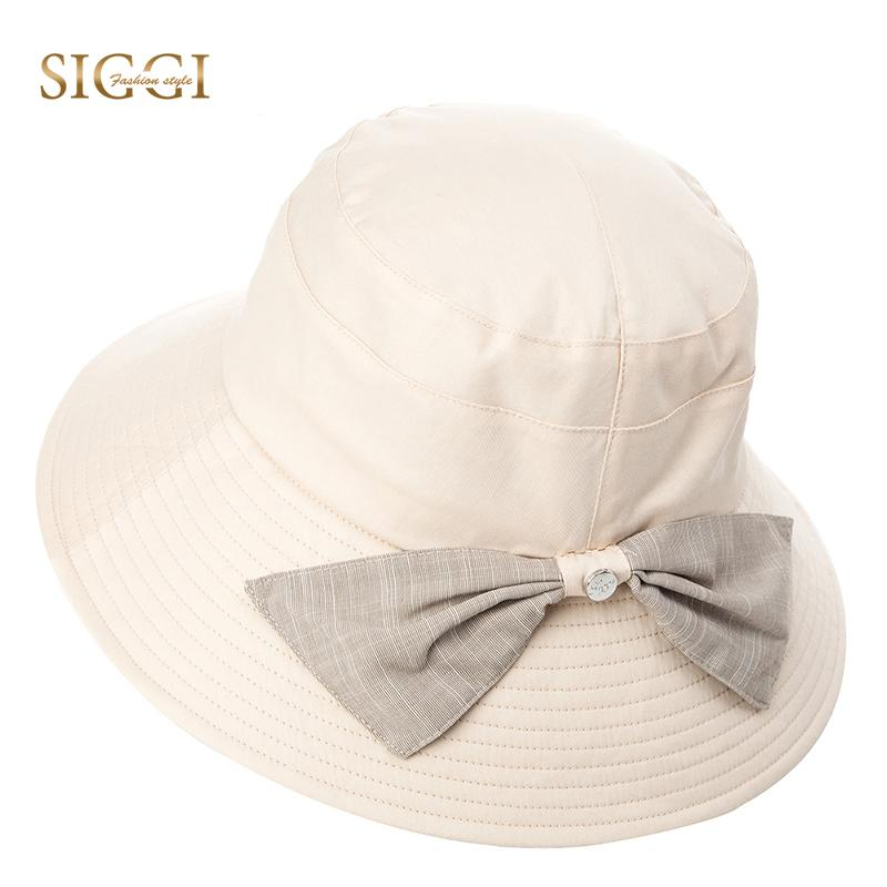 SIGGI Summer Beach Cotton Sun Hats For Women Solid Bowknot Decoration  Foldable Adjustable Windproof Cord Gorras Female 89300 Bucket Hats Bucket  Hat From ... a2cd9bc93e31