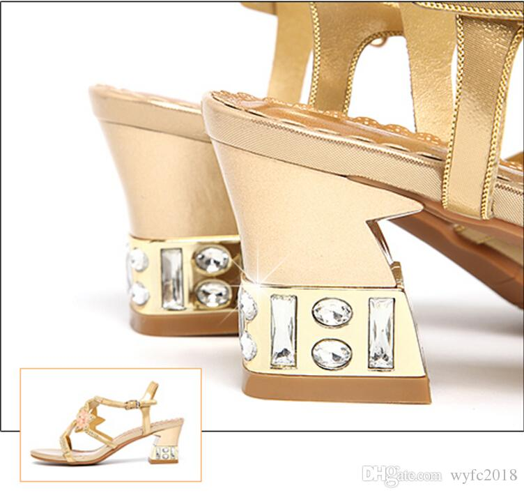 Summer sandals female han edition 2018 new diamond with crystal diamond sexy shoes for women's shoes