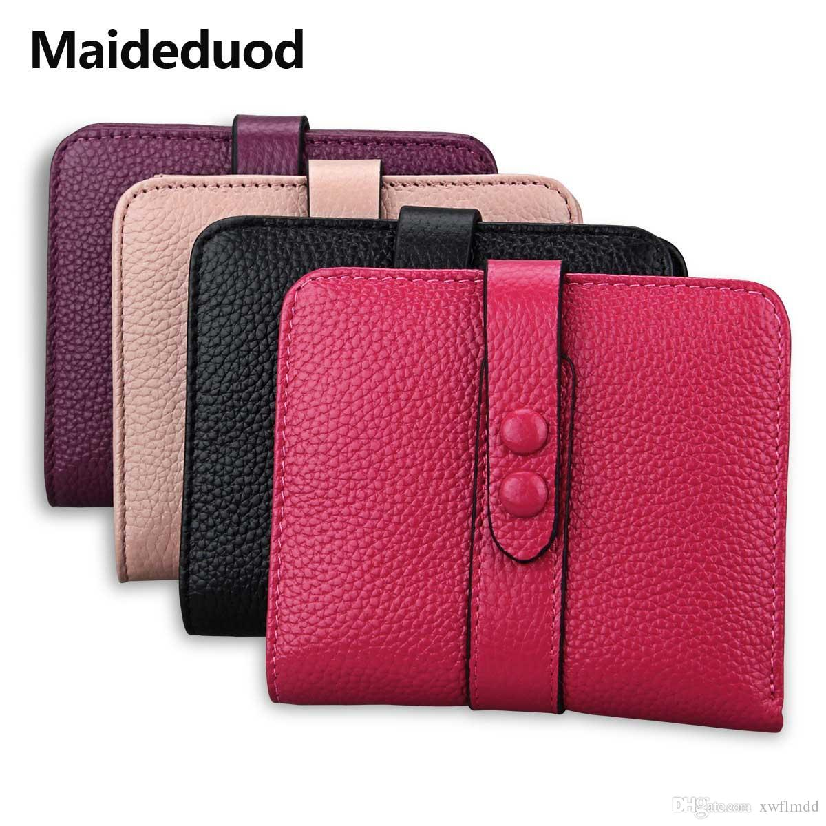 Maideduod 2018 Genuine Cowhide Leather Women Wallet Bank And Name