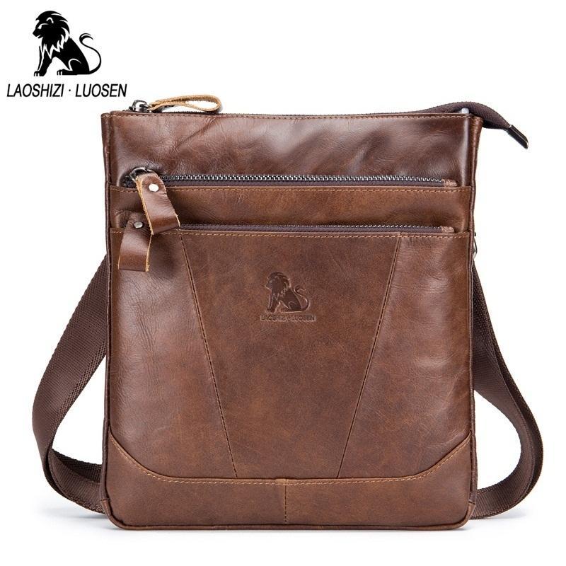 LAOSHIZI LUOSEN Brand Design Men Messenger Bag Genuine Leather Vintage  Men s Crossbody Bags Business Casual Men Shoulder Bags Relic Purses Fashion  Bags From ... 1fc57d9704e48