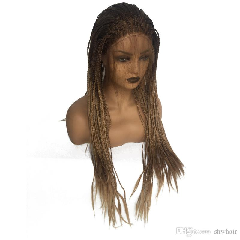 Box Braids Wigs Heat Resistant Brown Ombre Glueless Braided Synthetic Lace Front Braid Wig With Baby Hair For Women
