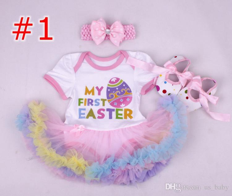 0d021250f88d Baby girls Easter 3piece outfits infant Princess Floral romper onesies  jumpsuit toddler lace tutu pettiskirt + headband + shoes