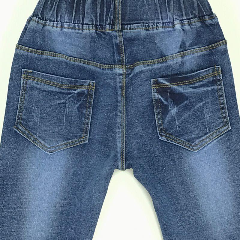 2017 Nuevo Diseño Niños Niñas Lindo Jeans de Mezclilla Para Las Niñas Diseño Inferior de la Flor Elástico Pantalones Vaqueros de Cintura Niños Pantalones Edad 3-12Yrs
