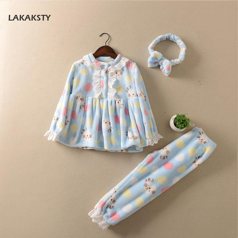 ec42c6ac1e LAKAKSTY Kids Pijamas 2018 Autumn Winter Flannel Lace Home Wears Children S  Clothes Princess Lace Style Cartoon Baby Pajamas Set Y18103008 Christmas  Pajamas ...