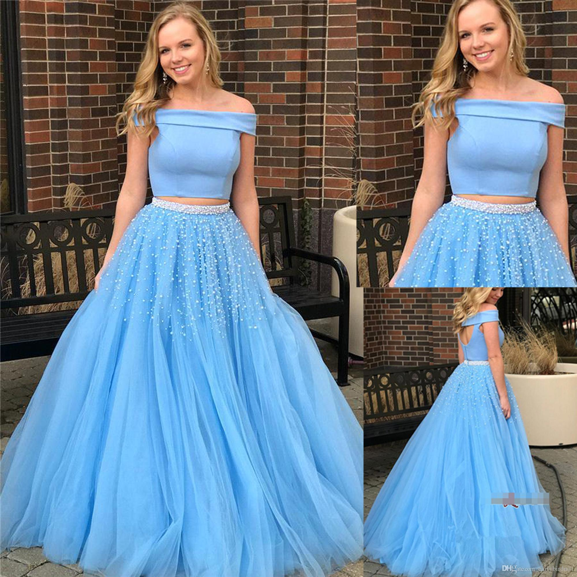 e9b73cf0221 New Sweety Long Homecoming Dresses Two Piece Baby Blue Pearl Beads Sequins  Off Shoulder Floor Length 2018 Prom Dress BA9646 Grad Dresses Mermaid  Dresses ...