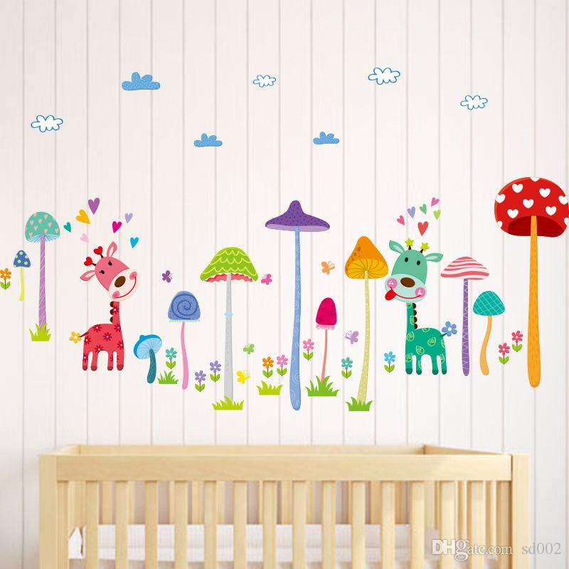 Camera dei bambini Camera da letto Sfondo Decorare Mushroom Tree Giraffe Wall Stickers Lovely Paster Gift For Kids 4md Ww