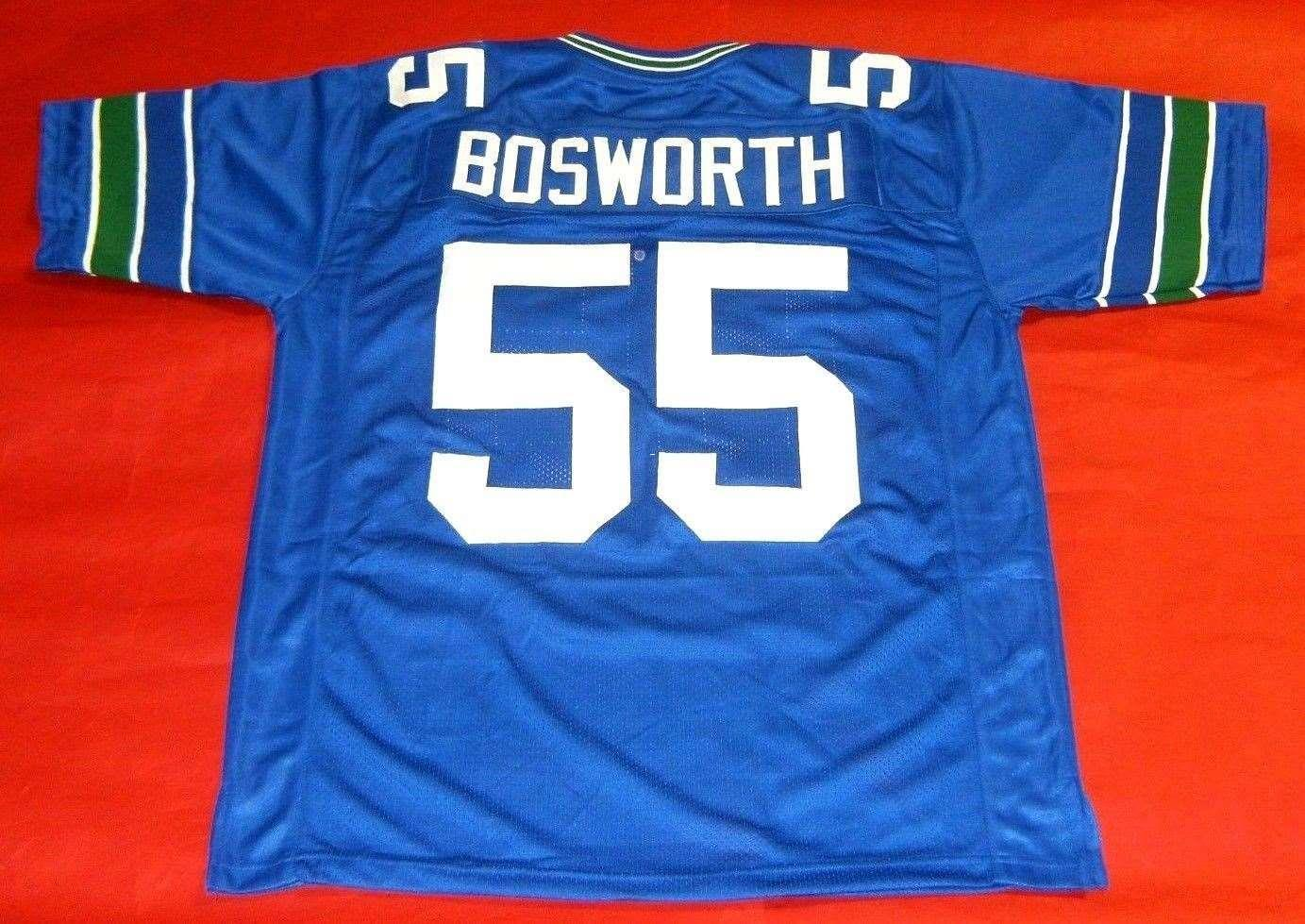 f655c53dd 2019 Cheap Retro  55 BRIAN BOSWORTH Retro JERSEY THE BOZ White Bule Mens  Stitching Football Jerseys Fat Man Big And Tall 4XL 5XL 6XL For Sale From  ...
