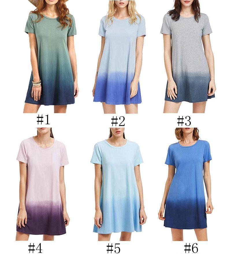 242ab34b9cf8 Women T-shirt Dress Short Sleeve Gradient Color Dress Summer Fashion ...