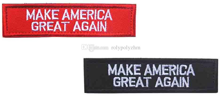 New Make America Great Again High Quality 3D Embroidery Badge Clothing Backpack Bag Cap Sewing Applique Stimulate Morale Armlet Armband