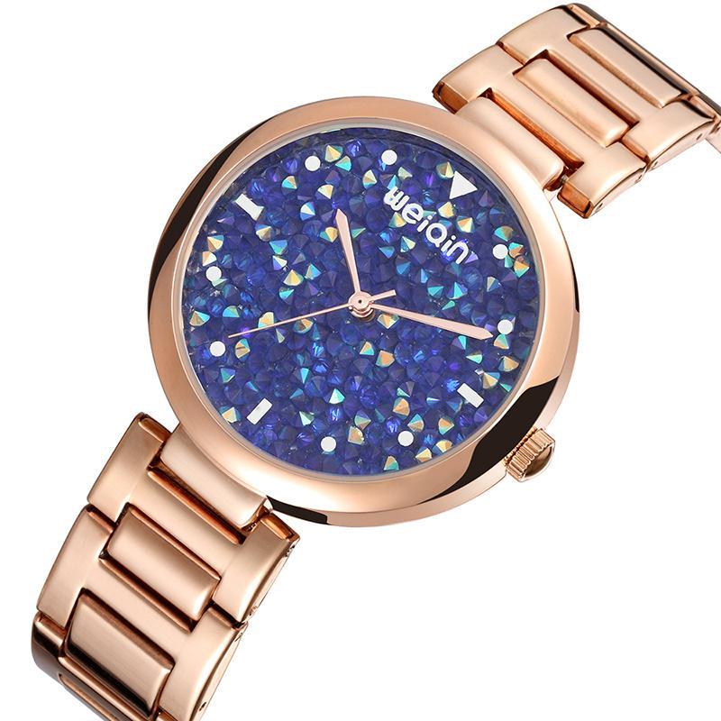 0b95c635b4dc Compre WEIQIN Marca Relojes De Moda Para Mujer De Lujo Colorido Rhinestone  Señoras Reloj De Pulsera De Cuarzo De Acero Inoxidable Reloj Impermeable A   35.04 ...
