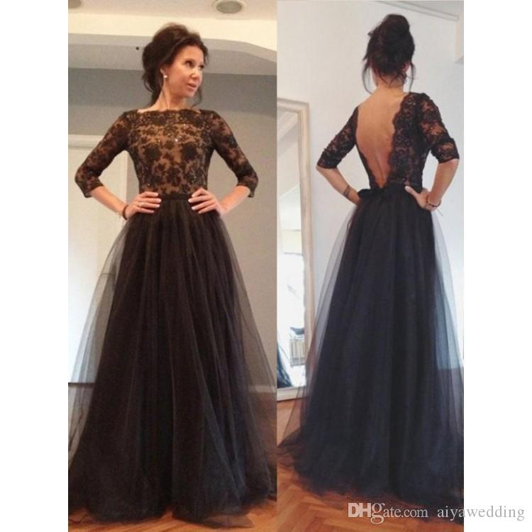 7904fd382f049 2019 New Cheap Elegant Black Lace A Line Prom Dresses Backless 3/4 Sleeves  Special Occasion Dress Popular Evening Dresses Free Shipping