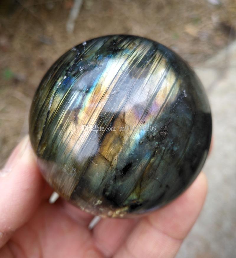 1 adet Doğal ağır flaş labradorit kristal reiki şifa taş labradorit kristal küre hediye olarak + standı
