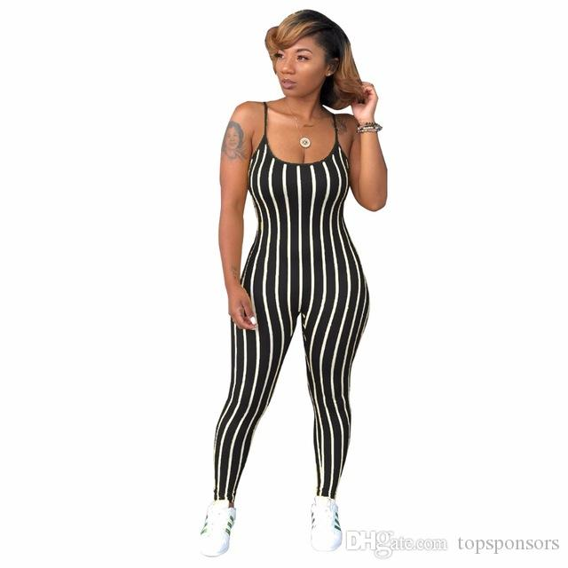 S-XXL Strap Sleeveless Stripe Print Summer women Overalls Jumpsuits Outfit playsuits casual sexy fashion Bandage rompers