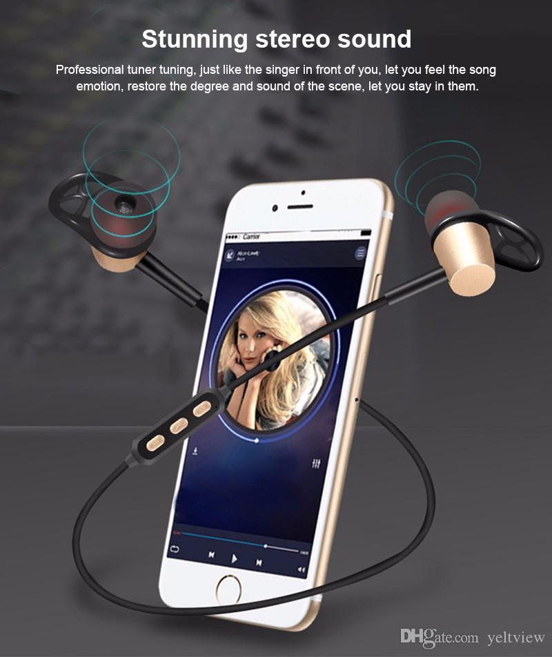 마그네틱 블루투스 헤드폰 스테레오 무선 블루투스 이어폰 스포츠 금속 Apt - X HD 음악 헤드셋 삼성 아이폰과 마이크 소매 상자