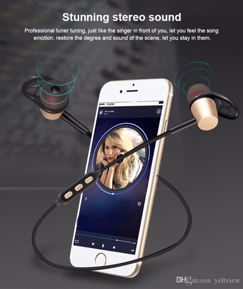 Auriculares magnéticos Bluetooth Estéreo Auriculares inalámbricos Bluetooth Deportes metal Apt-X Auriculares Música HD para Samsung Iphone con micrófono al por menor CAJA