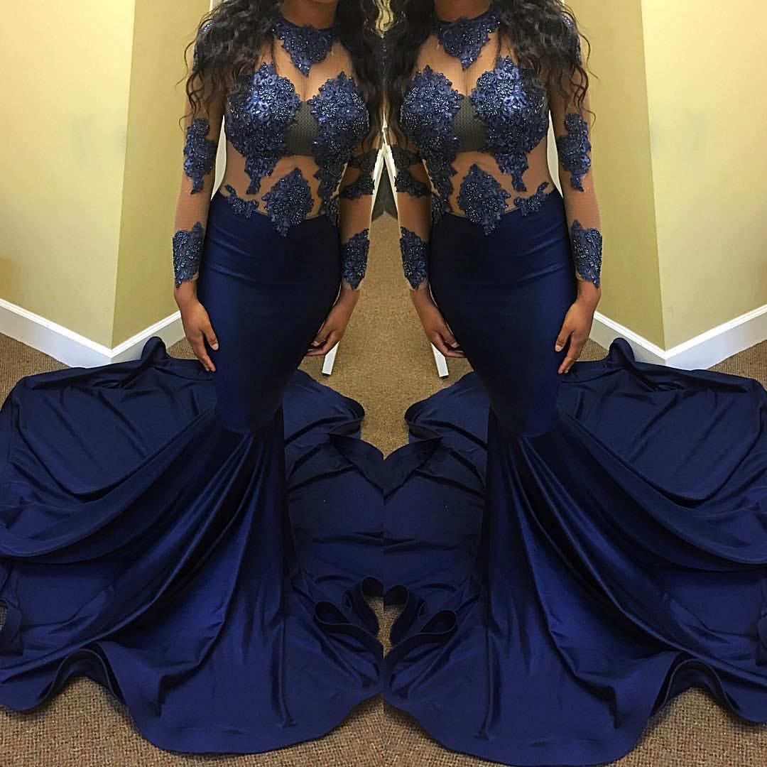 2018 Sexy azul marino escarpado cuello sirena vestido de fiesta rebordear ver a través de manga larga de ilusión palabra de longitud partido formal vestido de noche desgaste