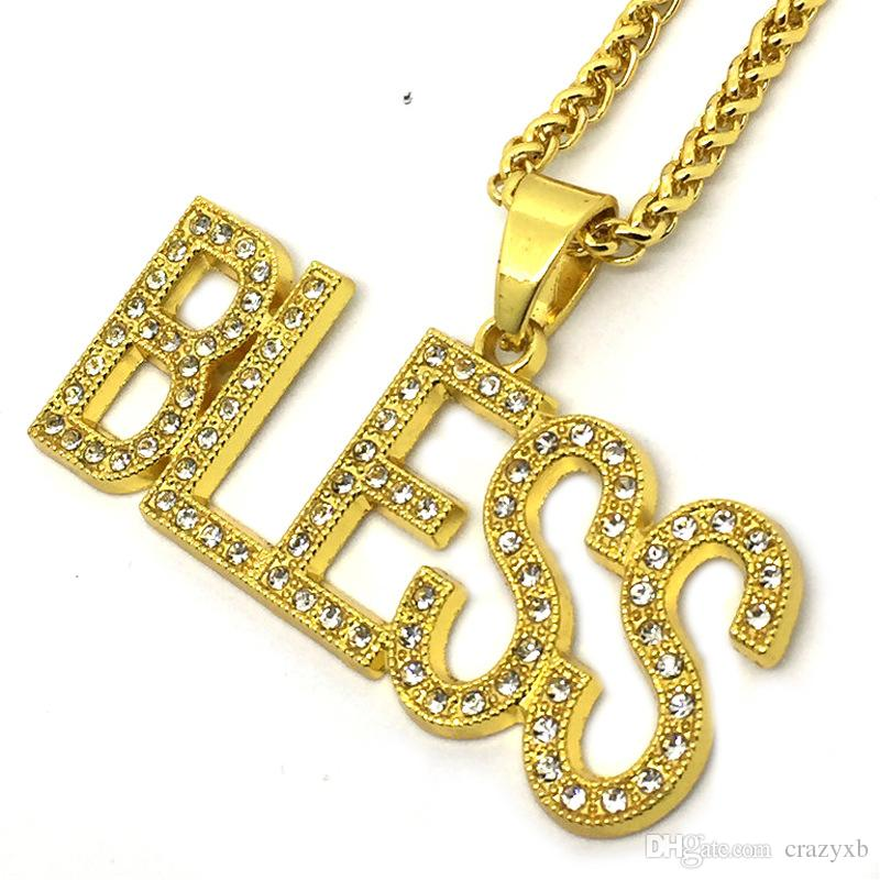 Wholesale bless letter charm pendant necklace women mens chain hip wholesale bless letter charm pendant necklace women mens chain hip hop gold color iced out paved rhinestones gold chains personalized necklaces amethyst aloadofball Images