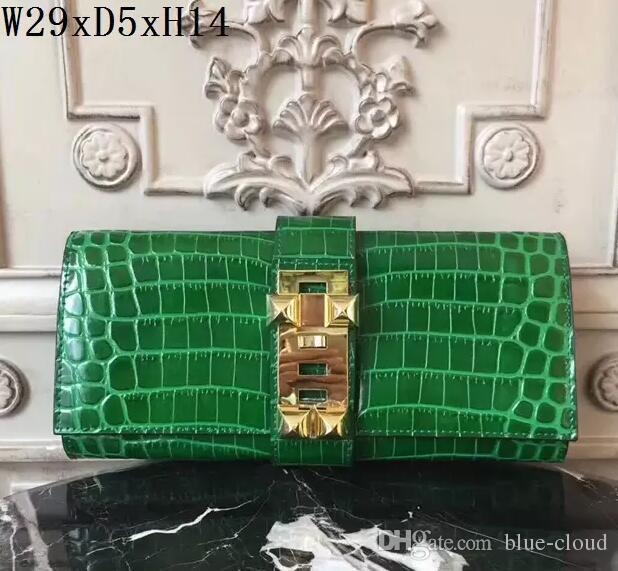 Original 2018 marca de alta qualidade bolsas femininas Genuíno Senhora de Couro Sacos de Noite Crocodilo de grãos Casuais Embreagem bolsa Sacos de Noite