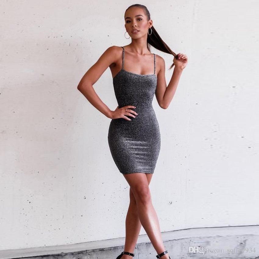 Sexy Femmes D'été En Argent Robe Strappy Sans Manches Bandage Slim Bodycon Party Cocktail Courte Mini Robe