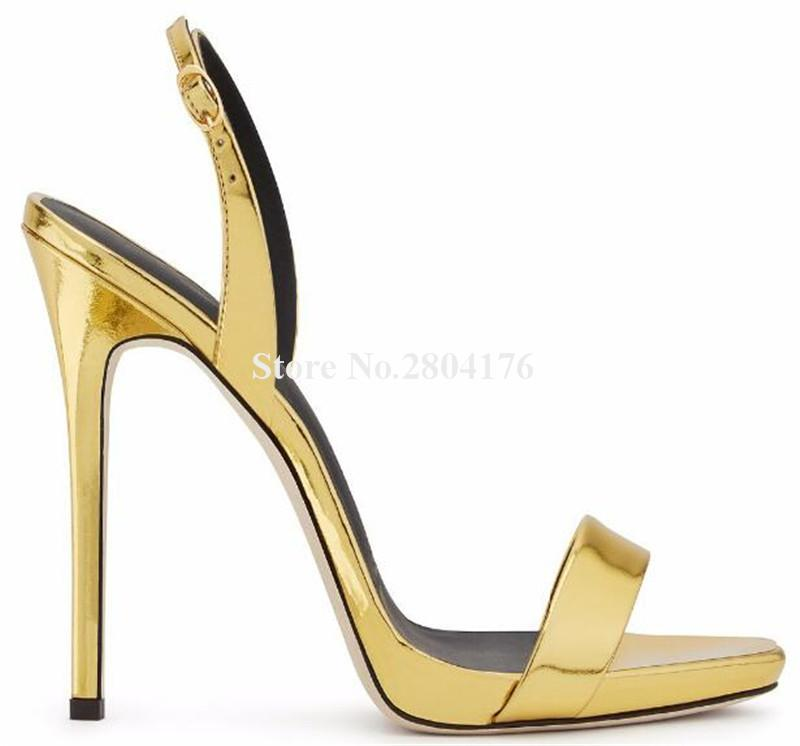 Women Fashion Style Open Toe Patent Leather Stiletto Heel Sandasl Back  Strap Gold Red Black Thin High Heel Sandals Dress Shoes Black Sandals  Ladies Sandals ... e9934a73f410