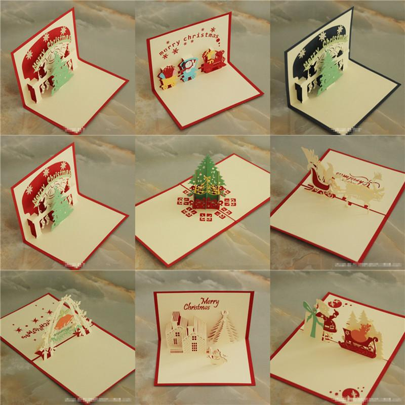 3d christmas cards xmas greeting cards creative diy hollow out handmade paper christmas tree santa claus card factory cheap b47 gift cards discount cheap - Cheap Christmas Cards Photo