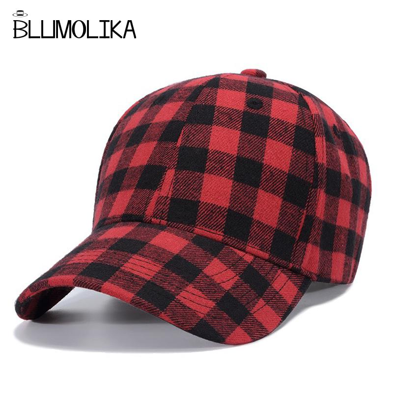 2018 Winter Baseball Caps Hat For Men Women Red Plaid Baseball Cap  Adjustable Spring Cotton Hats Blue White Plaid Snapback Caps Cap Hat Flat  Caps For Men ... ef64d98be39