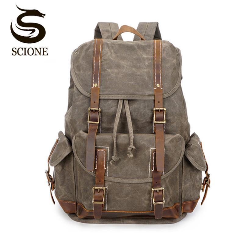 b4b9a398e Vintage Oil Wax Canvas Backpack Men Waterproof Travel Shoulder Bag 2018  High Quality Fashion Student Bag Laptop Male Backpack Backpacks For Men  Jansport Big ...