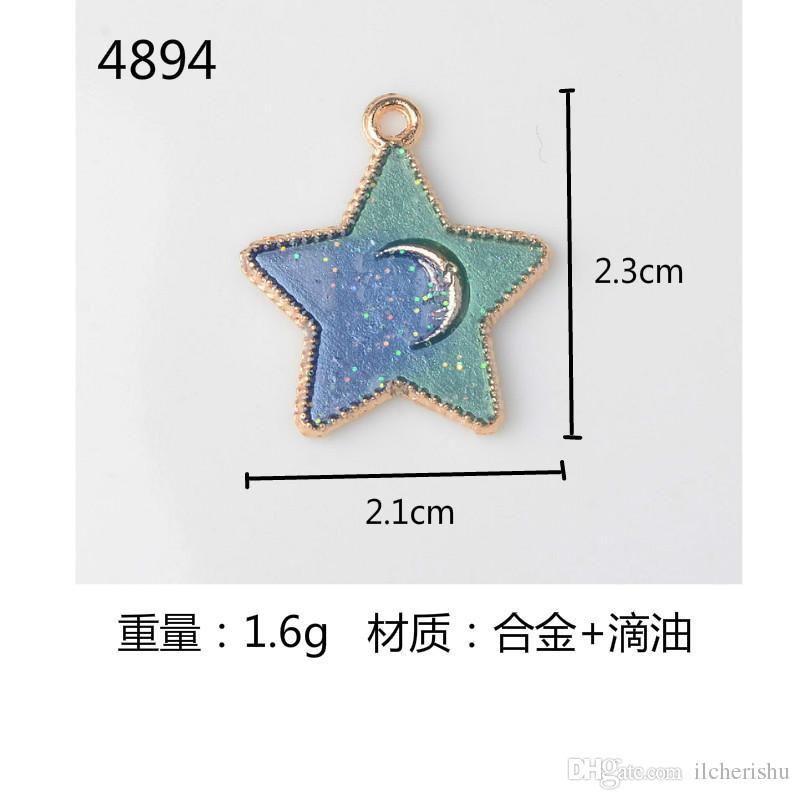 nouvelle pendentif en alliage d'émail japonais et coréen étoile lune charmes pour boucles d'oreilles fabrication de bijoux pendent boutique bibelot bijoux mode diy
