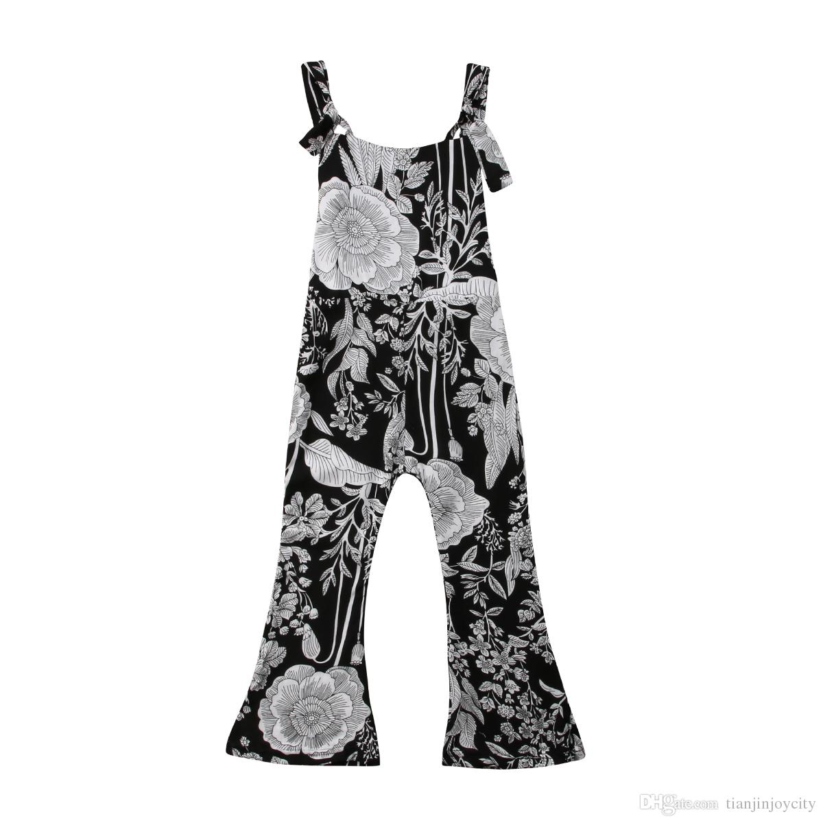 ca0d9a28d365 Kids Child Baby Girls Floral Romper Jumpsuits Playsuit Trousers Long Pants  Loose Casaul Girl Overall Summer Clothes 2 7T Suspenders And A Bow Tie  Suspender ...