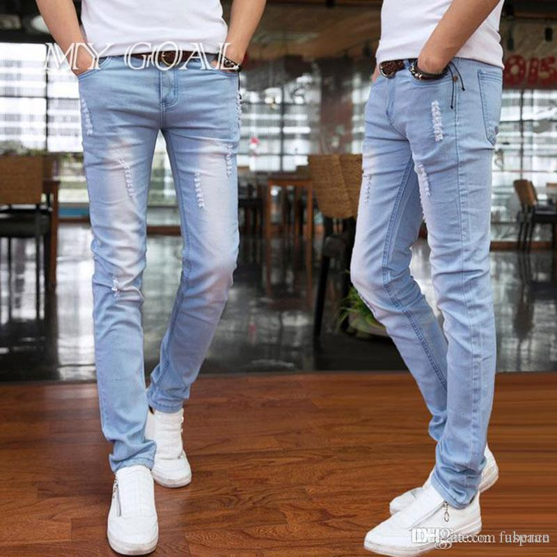 1578fdc1e4f 2019 Wholesale 2016 Spring And Summer New Men S Long Pants Korean Style  Influx Sky Blue Casual Trousers Cool Stretch Man Full Length Pants From  Uberan
