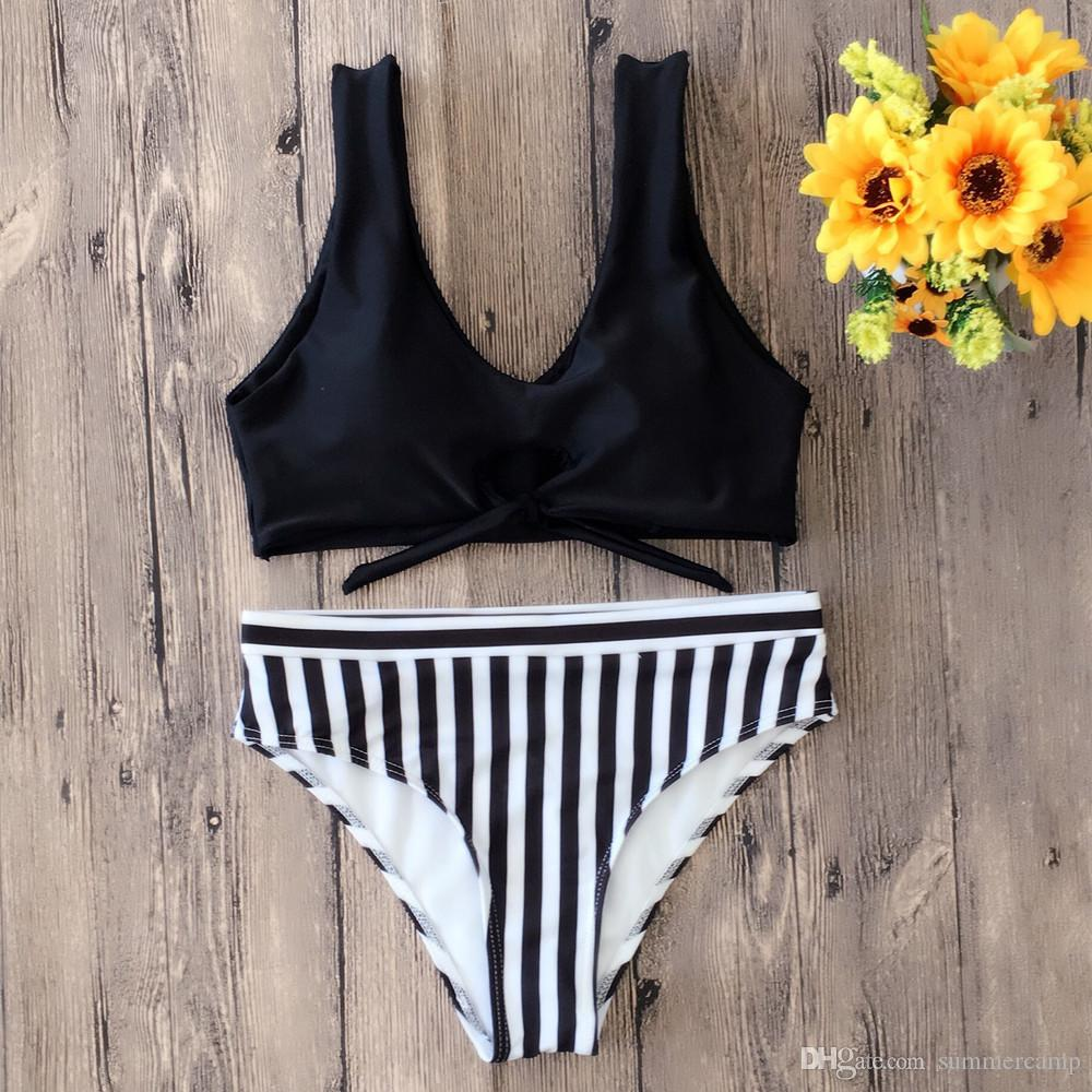 Summer Clothing 2018 Increase the number of women's clothes Stripe bikini yellow blue black red swimsuit