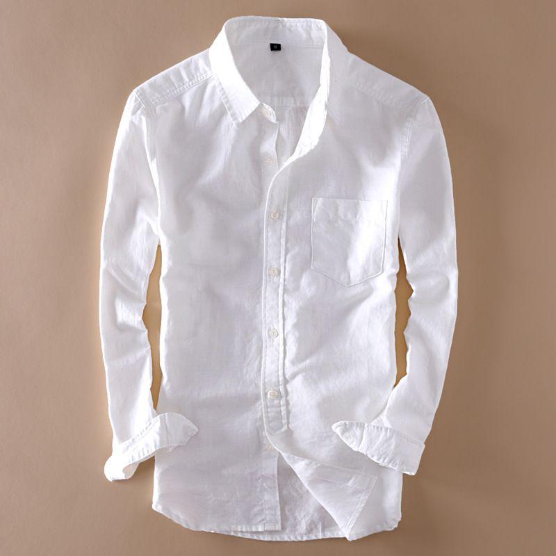 9092ccf2 2019 Elegant Mens Long Sleeve Linen Shirt Slim Fit Turn Down Collar ...