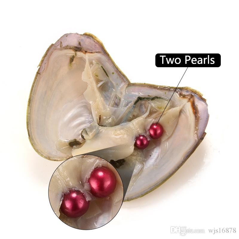 2018 DIY 7-8mm Freshwater akoya oyster with Twins pearl Mixed Top quality Circle natural pearl in Vacuum Package For Gift Surprise
