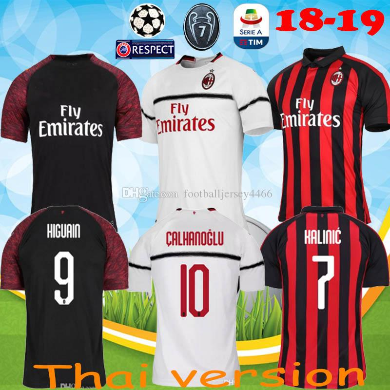 2019 AC Milan 18 19 Soccer Jersey 2018 2019 Football Shirt HIGUAIN BAKAYOKO  BORINI KESSIE CALDARA CUTRONE Camisa CALHANOGLU BONAVENTURA Maillot From ... 47f47e5dc124b