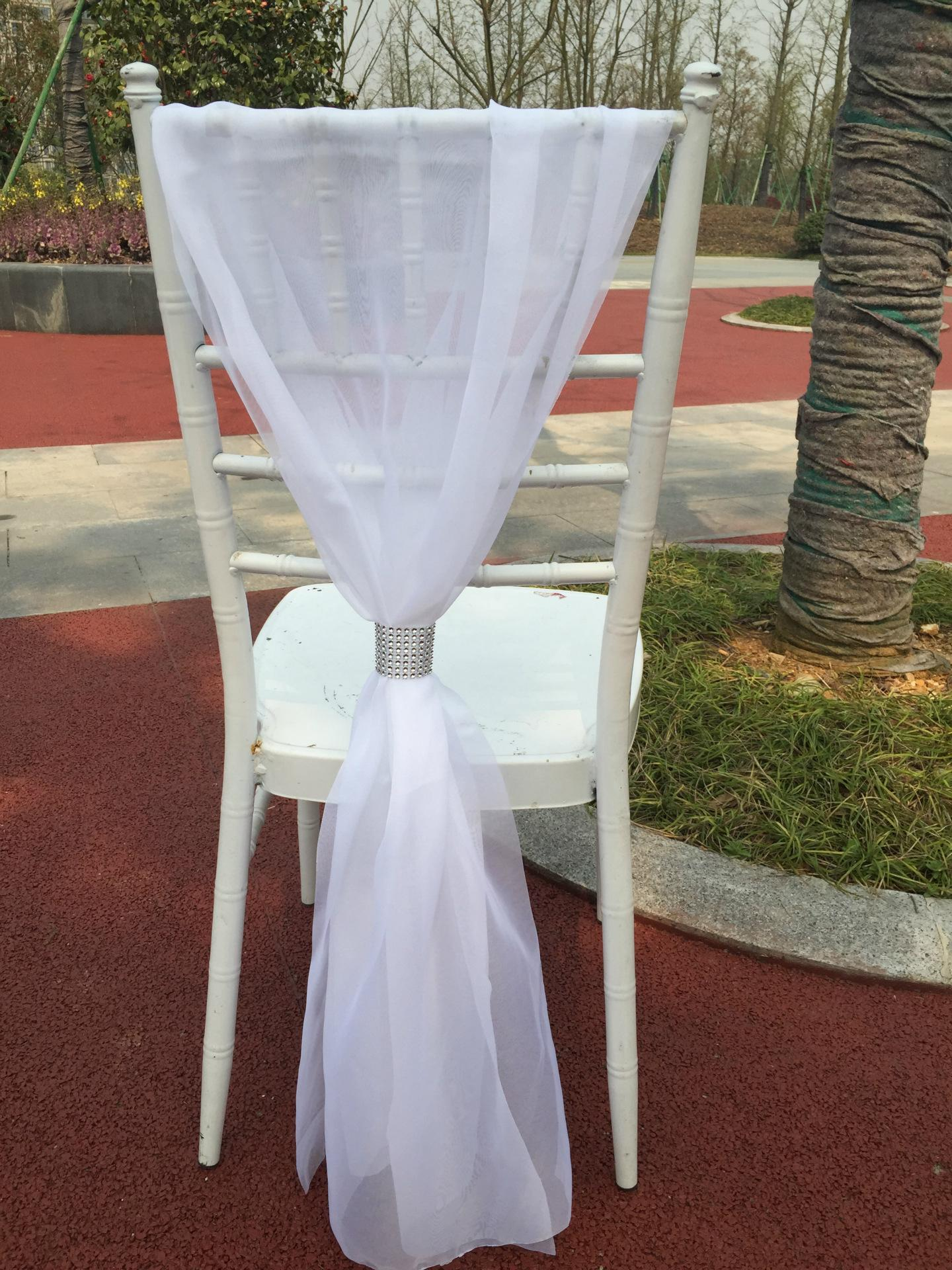 wholesale outdoor Wedding Chair sashes ribbon with rhinestone Party Event courtyard Chair dackdrops covers Wedding Chair Bows