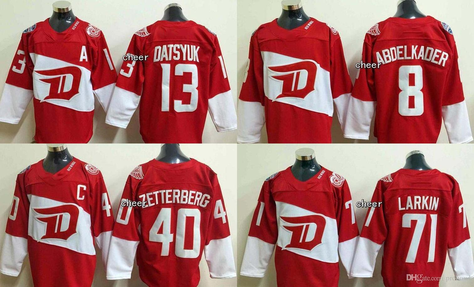 buy popular 783a6 05c1d New 2016 Stadium Series Jerseys Detroit Red Wings #71 Larkin #40 zetterberg  #13 datsyuk #8 abdelkader red Ice Hockey jerseys Drop Shipping