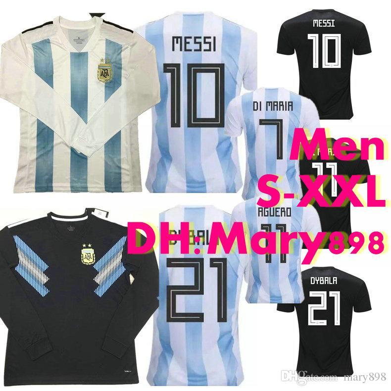 Top Thai Quality 2018 World Cup Argentina Home Long Sleeves Soccer Jersey  2018 DI MARIA HIGUAIN MESSI MARADONA AGUERO Away Football Shirt UK 2019  From ... a27cef8e7