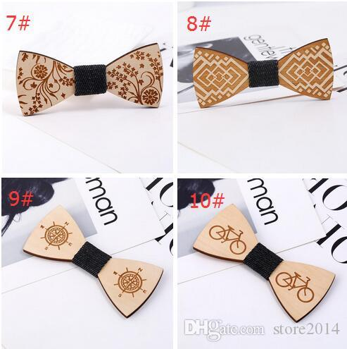 Fashion Vintage Wood Bow Ties Hand-carved Bicycle/Skeleton/Compass Bowknot For Gentleman Wedding Wooden Bowtie